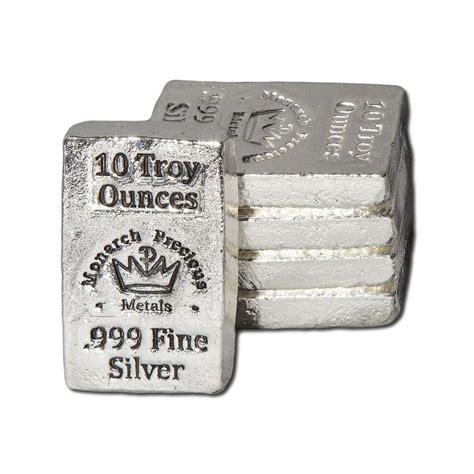 10 Troy Oz Silver Bar - monarch precious metals silver bar 10 troy oz