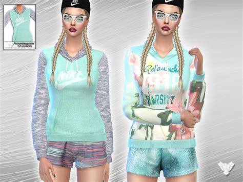 tsr sims 4 clothes sports pinkzombiecupcakes mint nike sports set