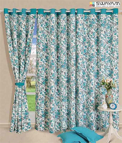 turquoise print curtains swayam turquoise floral print curtain buy swayam
