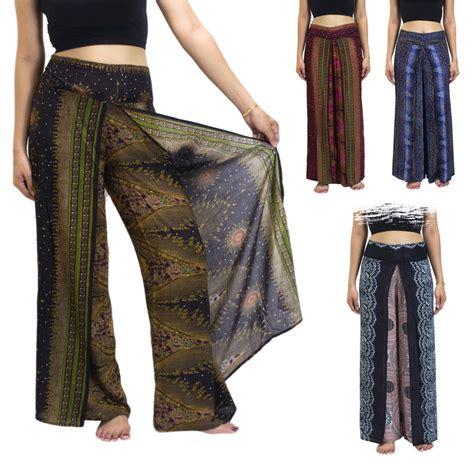 thai harem trousers pleat wrap open leg split palazzo hippy ebay