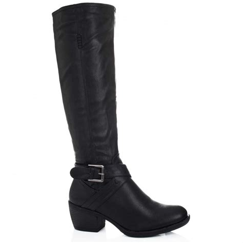 buy block heel knee high biker boots black leather