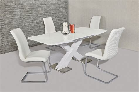 White Gloss Extending Dining Table And Chairs Extending White Gloss Dining Table 6 White Chairs Homegenies