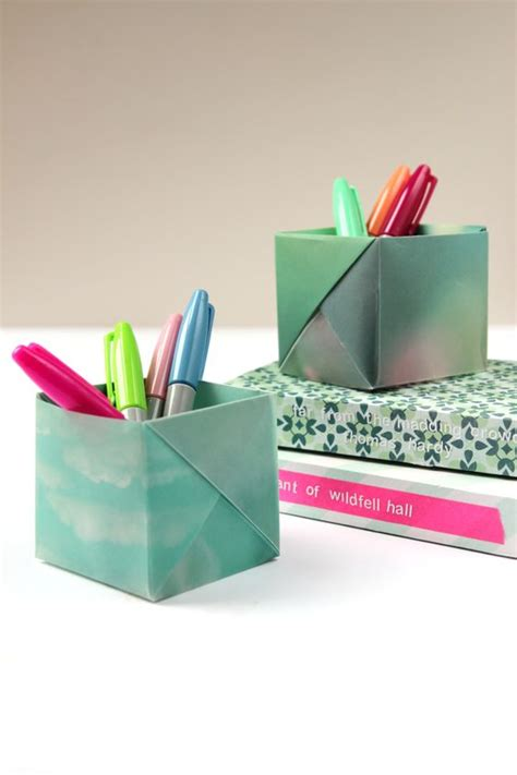 origami pen holder dress your desk in style with these origami pen holders