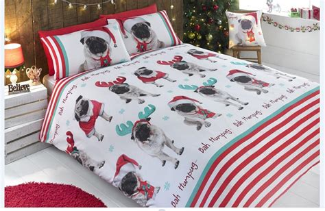 king size christmas bedding father christmas santa king size duvet cover bed set pug dog sweet dog beds and costumes