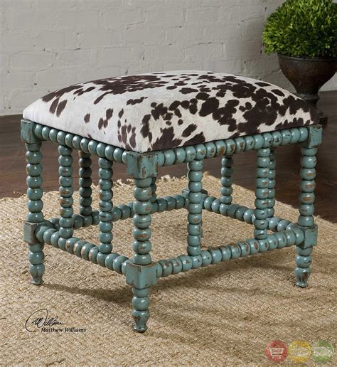 cow print bench chahna turquoise cow print western style small bench 23605