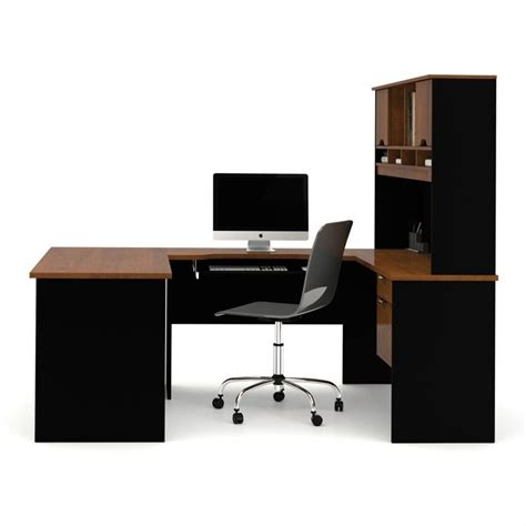 Black U Shaped Desk Bestar Innova U Shape Desk In Tuscany Brown And Black 92850 63
