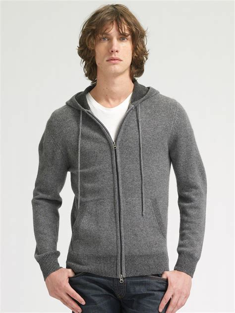 Hoodie Sweaterv Askjoshy Bungsu Clothing lyst vince hoodie sweater in gray for