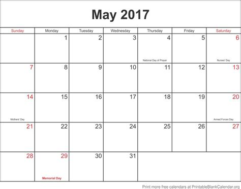 blank calendar template for may 2107 printable calendar printable blank calendar org