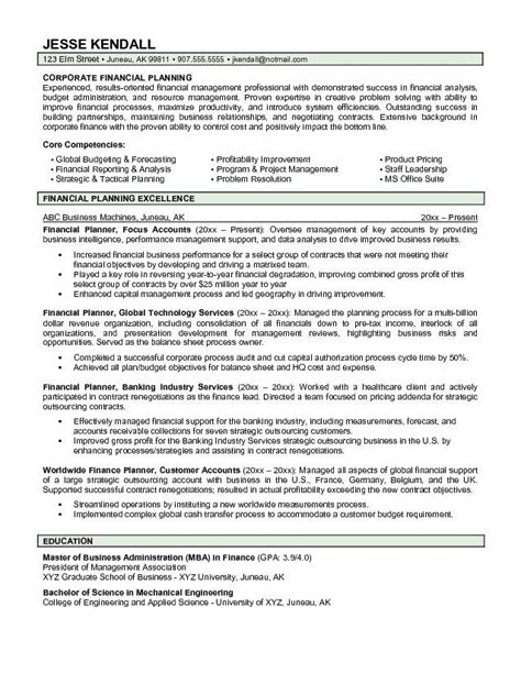 financial advisor resume sles financial advisor resume sle jennywashere