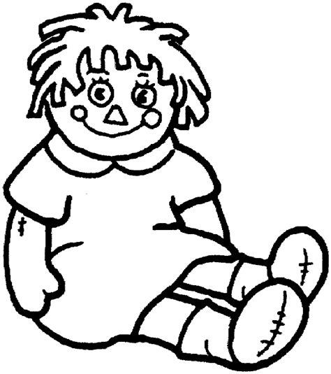 doll coloring page for kids free printable picture