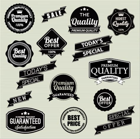 3d Sticker Vintage by Vintage Labels With Stickers And Ribbons Vector Graphics