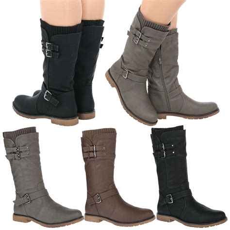 womens flat biker boots natalia womens low heel buckle zip up biker sock boots
