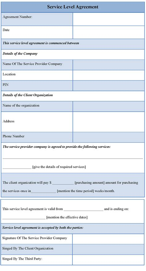 sla template template for service level agreement free template for
