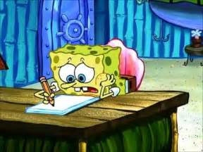 Spongebob Doing Essay by Writer S Block