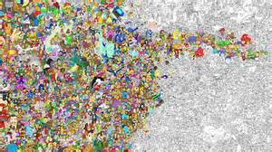 gigantic illustration of every cartoon character ever