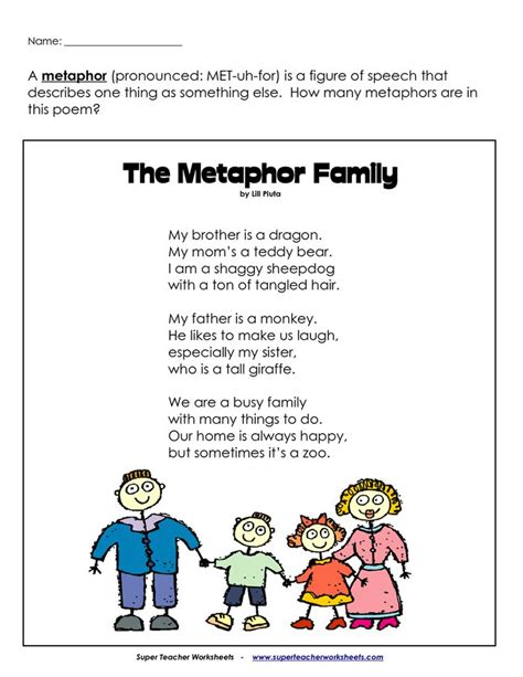 Metaphors Worksheets by Metaphor Poem And Worksheet This For Introductory