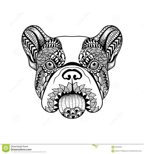 zentangle stylized french bulldog face hand drawn dog