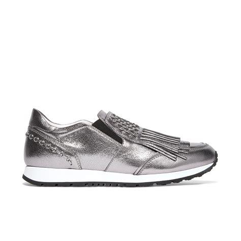 www silver sneakers tod s fringed silver metallic sneakers meghan maven