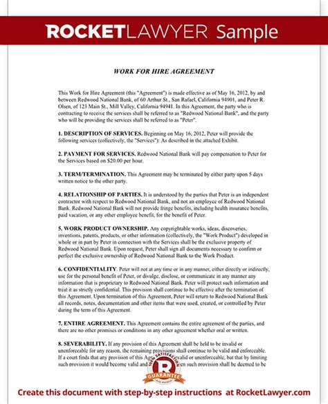 hire agreement template work for hire agreement rocket lawyer