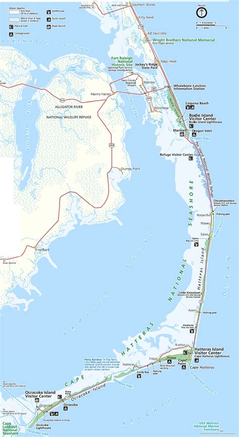 obx map map of the outer banks including hatteras and ocracoke