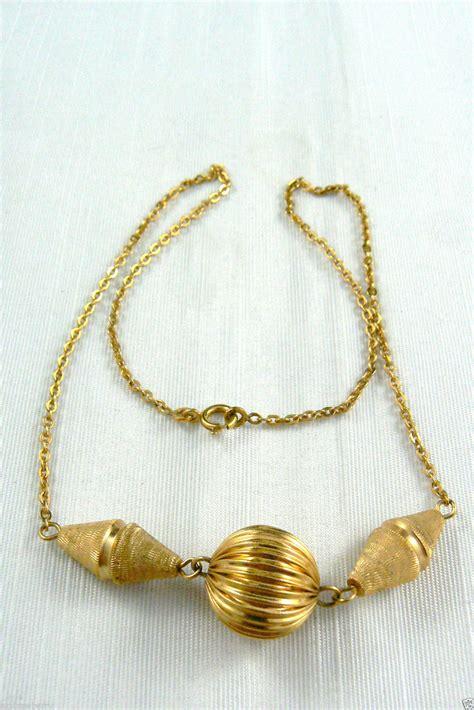 pendant l with chain vintage gold tone ball pendant chain necklace 18 quot l