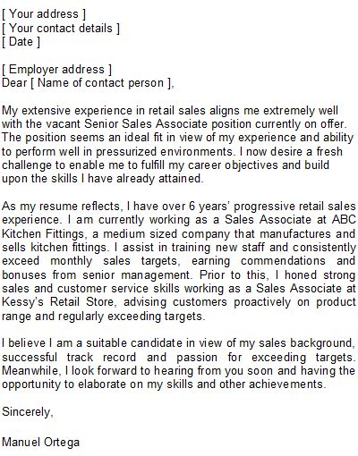 cover letter exles for sales associate writing students consultspark