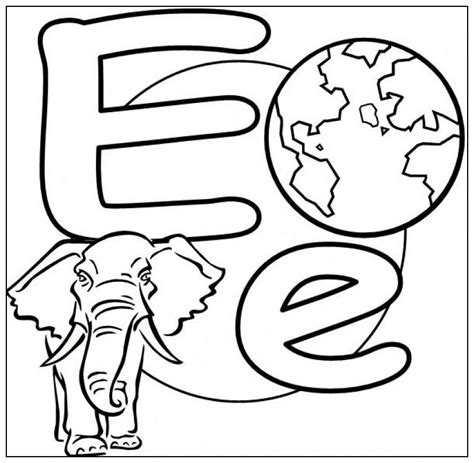 e is for elephant coloring page az coloring pages