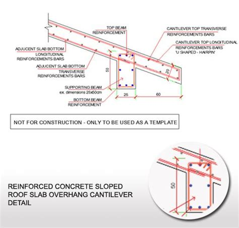 balanced section reinforced concrete reinforced concrete sloped roof slab overhang detail