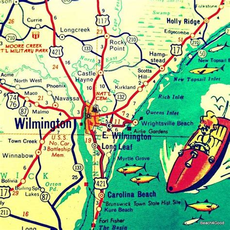 printable road map of wilmington nc wilmington nc map print maps pinterest north