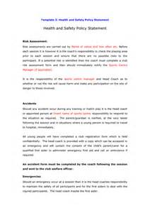Health Safety Statement Template by Health And Safety Policy Statement Template In Word And