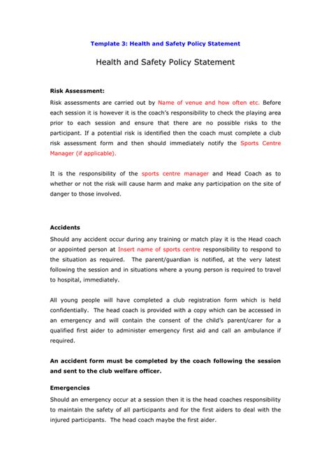 health and safety policy template health and safety policy statement template in word and