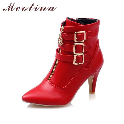 boots high heels ankle boots pointed toe buckle