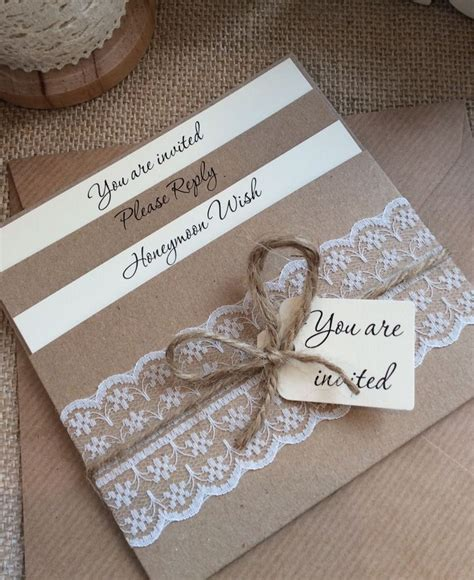details about 1 vintage shabby chic style lace pocket rebecca wedding invitation sle