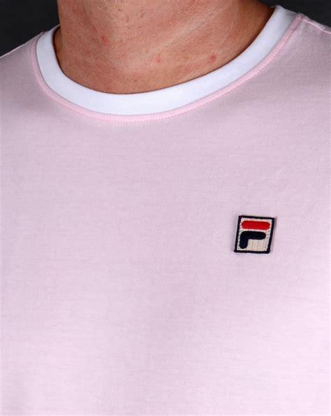 fila vintage 4 stripe ringer t shirt pink white crew neck