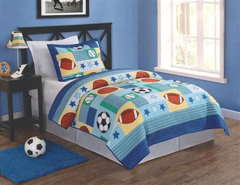 sports theme bedding sports baseball basketball football soccer 2pc twin quilt