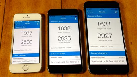 geek bench test iphone 6 plus vs iphone 6 vs iphone 5s speed test