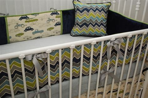Grey Navy Aqua Green Chevron Car Print Crib Bedding Navy Chevron Crib Bedding
