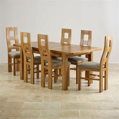 Solid Oak Extending Dining Table And 6 Chairs Orrick Extending Dining Set In Rustic Oak Table 6 Beige Chairs