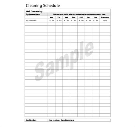 Kitchen Schedule Template Fee Schedule Template Warehouse Cleaning Schedule Template Excel