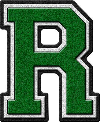 presentation alphabets green varsity letter r