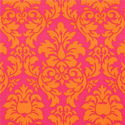 orange and pink cross pattern cuptakes wallpapers for michael miller ornament fabric dandy damask pink orange