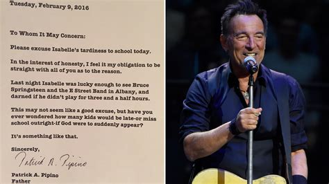 bruce springsteen fan club bruce springsteen fan writes tardy note for daughters
