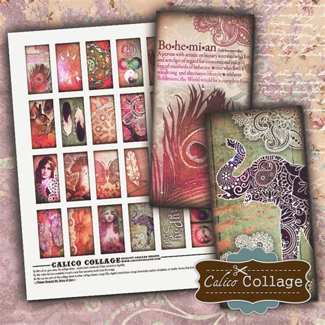Decoupage Supplies Australia - boho chic digital collage sheet 1x2 domino images for