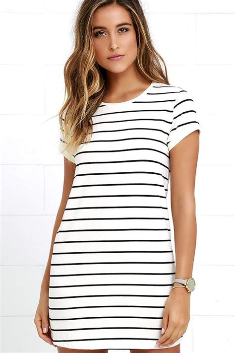 Striped Shirt Dress chic black and striped dress shirt dress shift