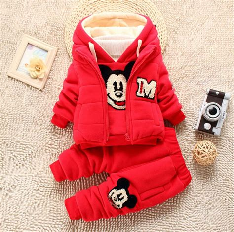 Boy Set Mickey Mouse Baby Boy Set Winter Mickey Mouse Thick Clothing Set Hooded