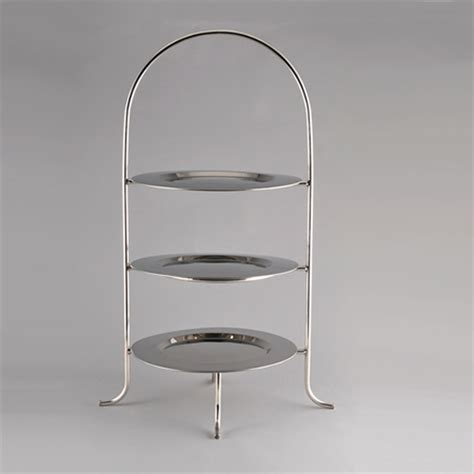 silver 3 tier buffet plate stand