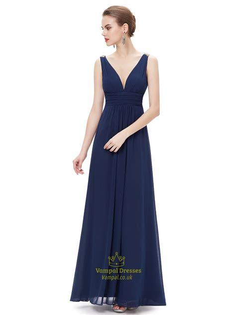 V Neck Prom Dress navy blue contrast v neck chiffon prom dress with beaded