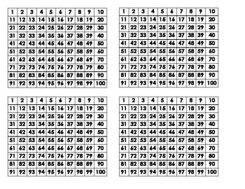 printable mini multiplication charts hundreds chart individual desk or mini charts by