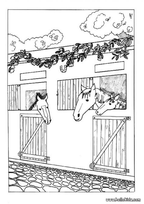 horse barn coloring page horses in the stable coloring pages hellokids com