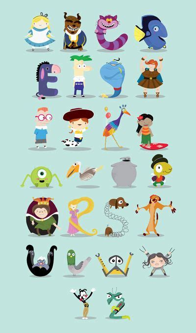 Disney Character Letter V animated characters abc print disney fonts and